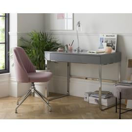 Argos Home Sammy 2 Drawer Desk - Grey Gloss