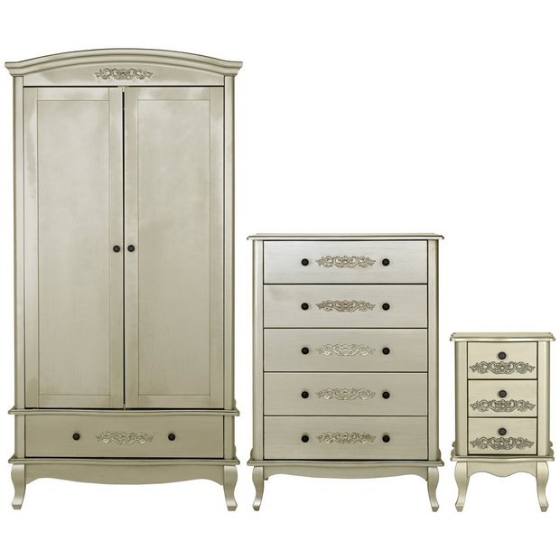 Buy collection sophia 3 piece 2 dr wardrobe package for Bedroom furniture argos