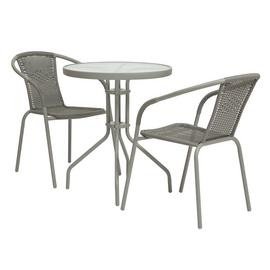 Argos Home 2 Seater Rattan Effect Balcony Set - Grey