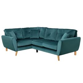 Argos Home Isla Left Corner Velvet Sofa - Teal