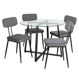 Argos Home Lazio Glass Dining Table & 4 Grey Chairs
