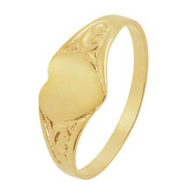 Revere 9ct Gold Heart Signet Kids Ring - D