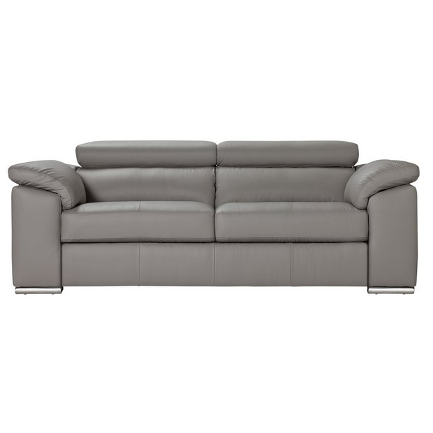 Buy Argos Home Valencia 3 Seater Leather Sofa - Light Grey | Sofas | Argos