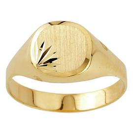 Revere Mens 9ct Yellow Gold Plain Signet Ring