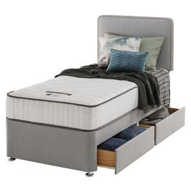 Silentnight Pavia Memory 2 Drawer Grey Divan - Single