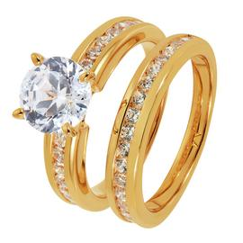 Revere 9ct Gold Plated Cubic Zirconia Bridal Ring Set