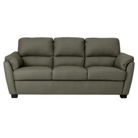 Argos Home New Trieste 3 Seater Leather Mix Sofa - Grey