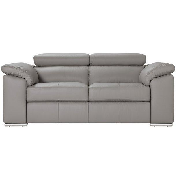 Buy Argos Home Valencia 2 Seater Leather Sofa - Light Grey   Sofas ...