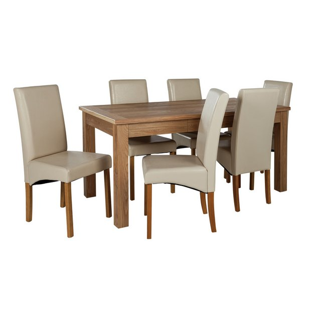 Buy Heart Of House Farnham Table And 6 Chairs Oak Veneer Cream At Your Online