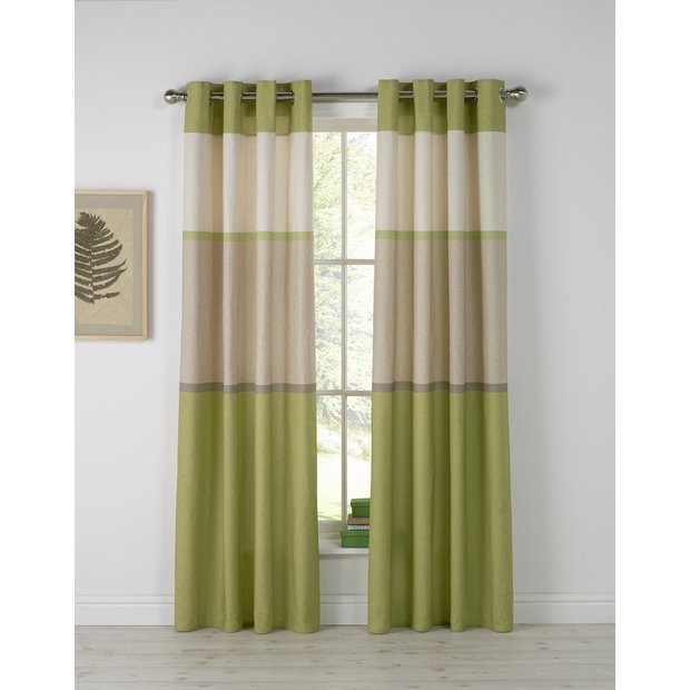 Buy Home Banded Stripe Unlined Eyelet Curtains 168x183cm