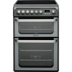 Hotpoint HUE61G Double Electric Cooker - Graphite