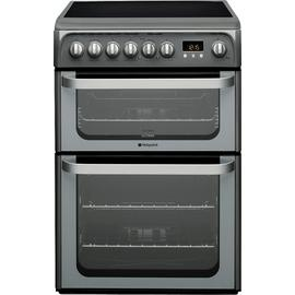 Hotpoint HUE61G 60cm Double Oven Electric Cooker - Graphite Best Price, Cheapest Prices