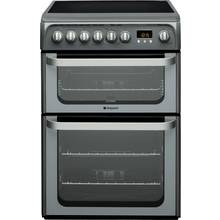 Hotpoint HUE61G 60cm Double Oven Electric Cooker - Graphite