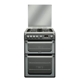 Hotpoint Ultima HUG61G 60cm Double Gas Cooker - Graphite