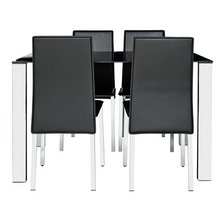 Hygena Fitz Black Glass Dining Table 4 Chairs
