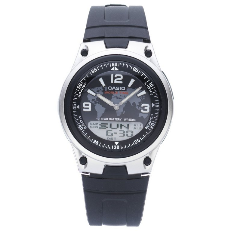 buy casio s world time digital analogue black