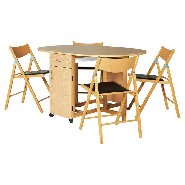 Buy collection willow dining table and 4 chairs oak stain beech at your online - Dining tables buy online ...