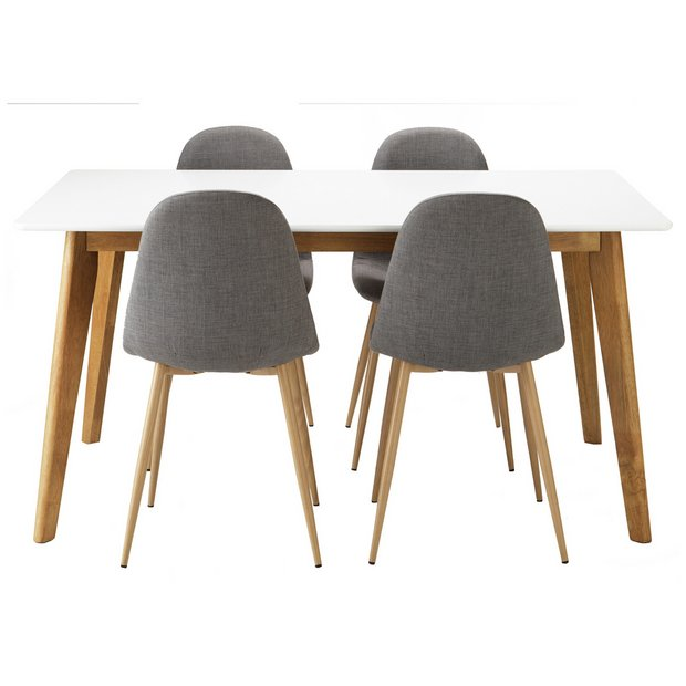 buy hygena beni dining table and 4 chairs grey at your