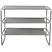 HOME 3 Shelf Stackable Fabric Shoe Storage Rack - Grey