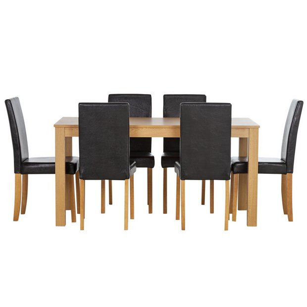 Buy home new elmdon oak stain dining table and 6 chairs black at your online shop Buy home furniture online uk
