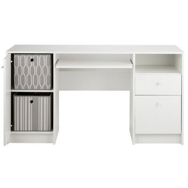 Buy home calgary 2 drw double pedestal desk with filer white at your online shop Argos home office furniture uk