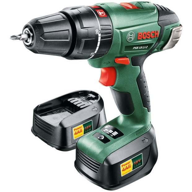 buy bosch psb 18 2ah cordless hammer drill with 2 batteries 18v at your online. Black Bedroom Furniture Sets. Home Design Ideas