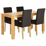 more details on HOME Newton Solid Wood Table & 4 Mid Back Chairs - Black.