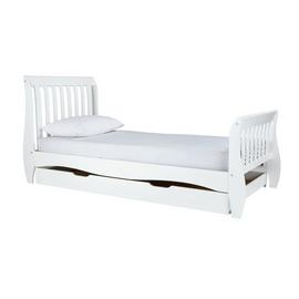 Argos Home Daisy White Single Sleigh Bed, Drawer & Mattress