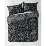 more details on HOME Black and Grey Damask Bedding Set - Double.