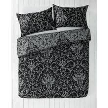 HOME Black and Grey Damask Bedding Set - Double