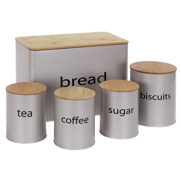 Buy colourmatch 5 piece wooden lid storage set silver at for Kitchen set argos