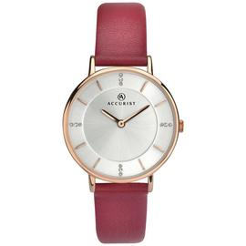 Accurist Ladies' Silver Stone Set Dial Leather Strap Watch