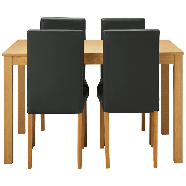 buy home elmdon oak effect dining table 4 chairs black. Black Bedroom Furniture Sets. Home Design Ideas