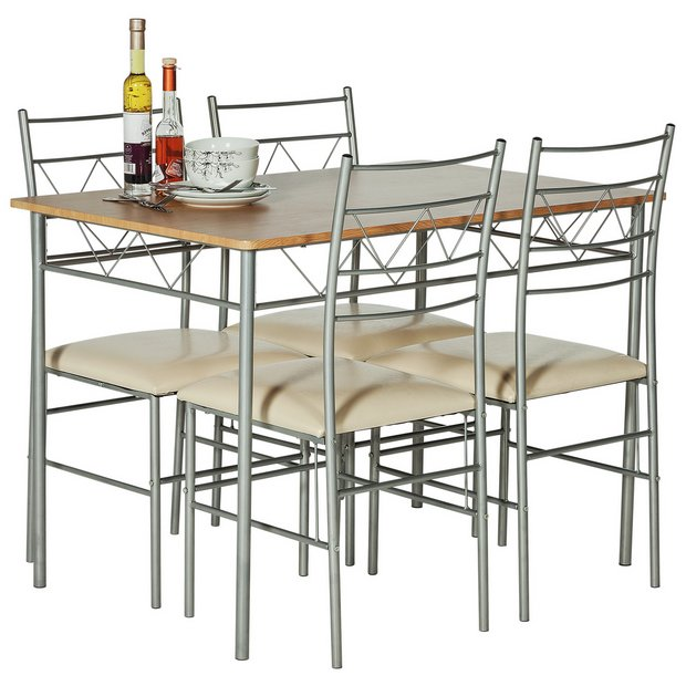 Argos Small Kitchen Table And Chairs: Buy HOME Oslo Oak Effect Dining Table & 4 Metal Chairs