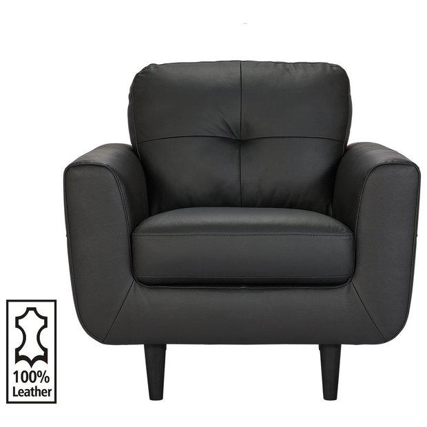Buy Hygena Cadiz Leather Chair Black At