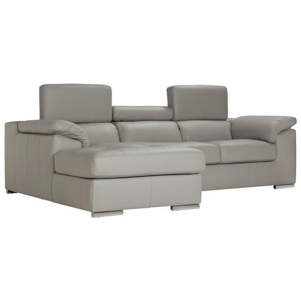 Buy Hygena Valencia Leather Left Hand Corner Sofa Grey