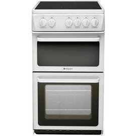 Hotpoint HAE51P 50cm Twin Cavity Electric Cooker - White