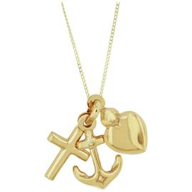 Bracci 9ct Gold Heart, Anchor and Cross Solid Look Pendant.