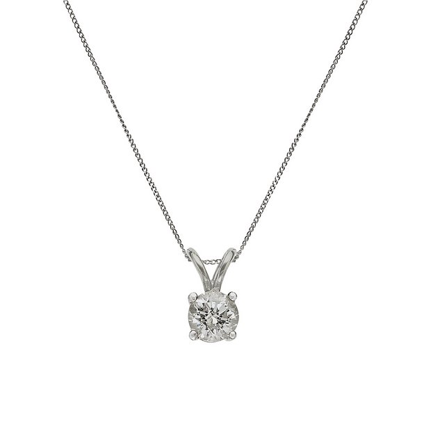 51187fa70b51e Buy Revere 9ct White Gold Diamond Pendant 18 Inch Necklace | Limited stock  Jewellery and watches | Argos