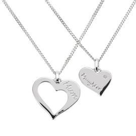 Moon & Back Sterlng Silver Mother & Daughter Heart Pendant