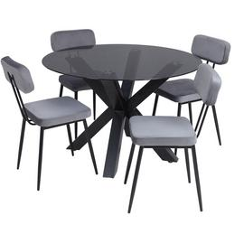 Argos Home Alden Smoked Glass Dining Table & 4 Grey Chairs