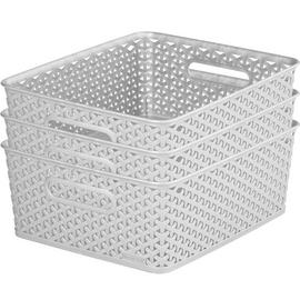 Curver Set of 3 Rattan My Style Storage Boxes - Grey