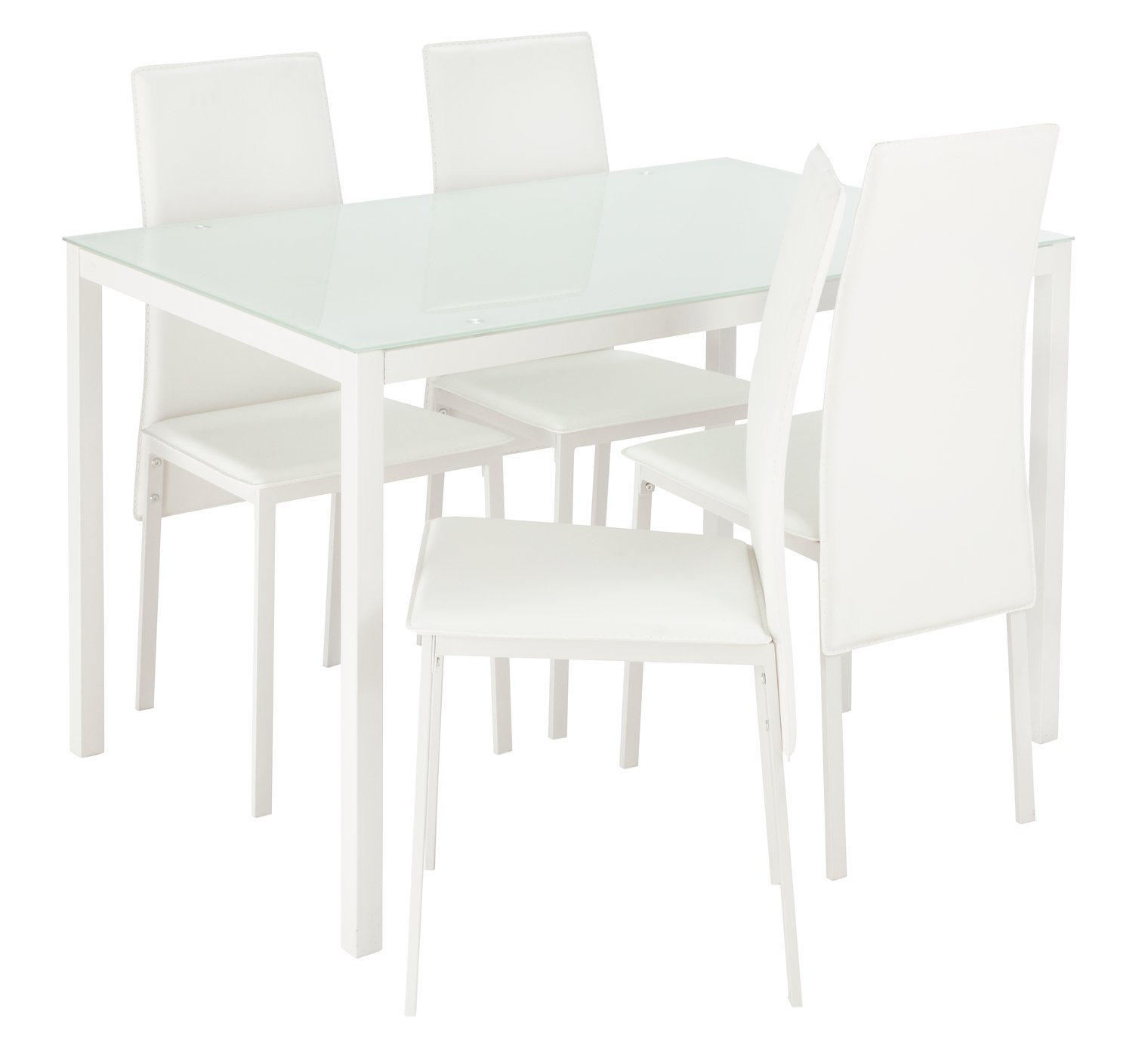 Hygena Lido Glass Dining Table U0026 4 Chairs   White