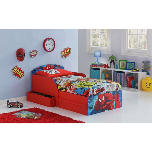buy spider man toddler bed with drawers multicoloured at. Black Bedroom Furniture Sets. Home Design Ideas