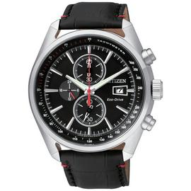 Citizen Eco-Drive Men's Black Leather Chronograph Watch