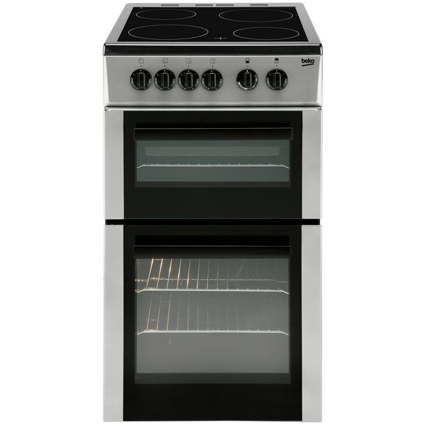 buy beko bdc5422 twin cavity electric cooker silver at. Black Bedroom Furniture Sets. Home Design Ideas