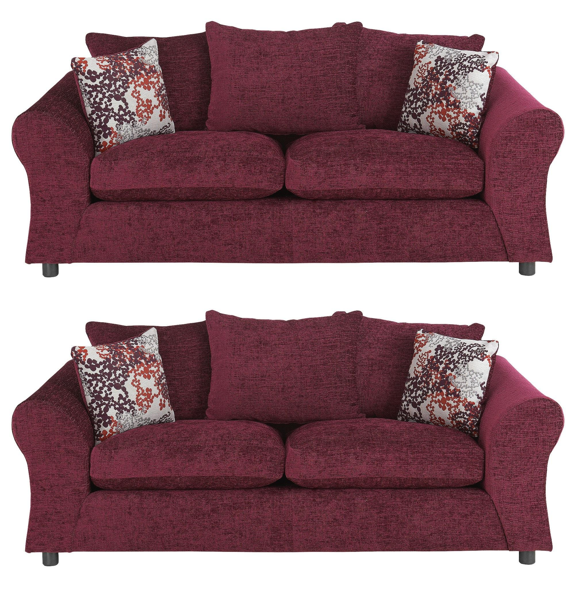 Argos Home Clara Fabric Pair Of 3 Seater Sofas   Plum