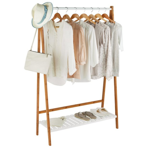 buy collection belvoir clothes rail with shelf bamboo. Black Bedroom Furniture Sets. Home Design Ideas