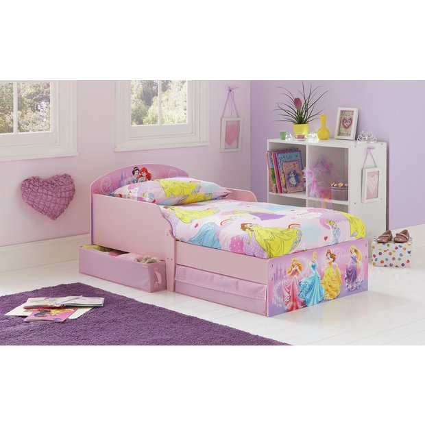 buy home disney princess toddler bed with drawers. Black Bedroom Furniture Sets. Home Design Ideas
