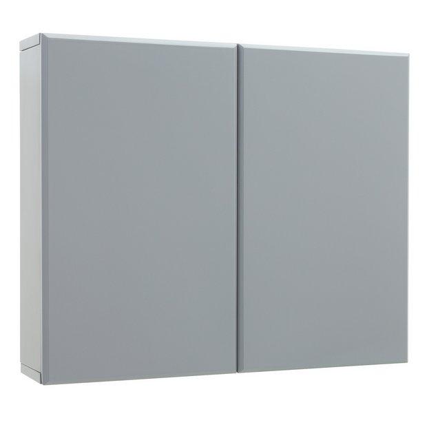 Buy Argos Home Gloss Double Wall Cabinet Grey Bathroom Wall Cabinets Argos